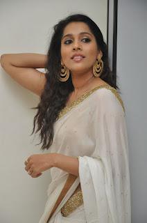 Actress Rashmi Gautham Pictures in White Saree at tur Talkies Audio Launch  0024