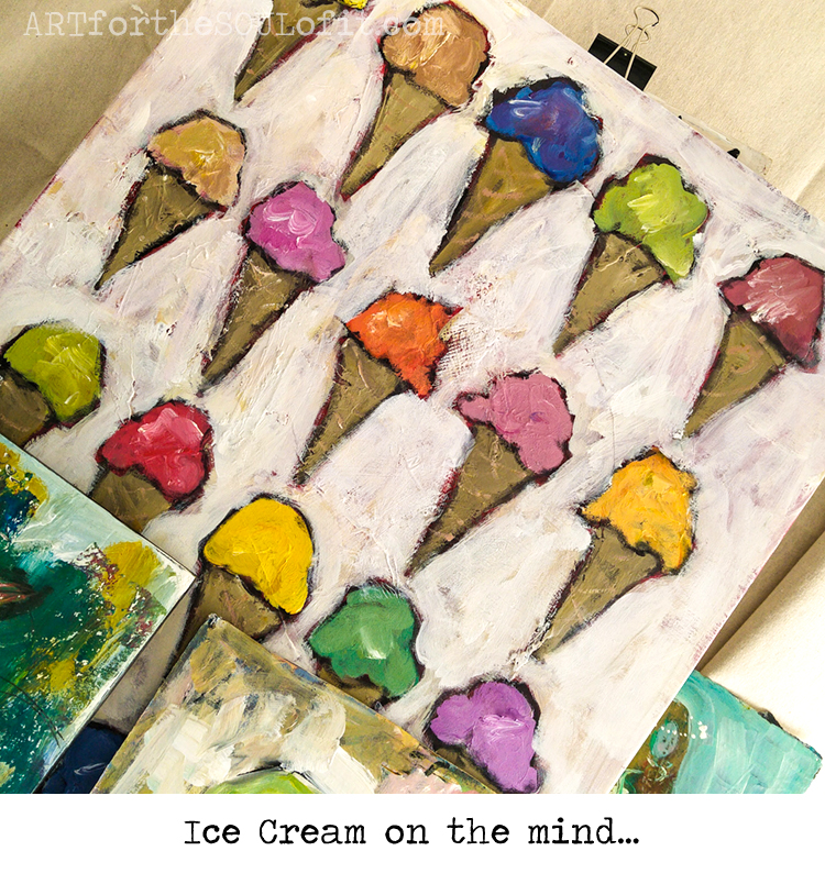 ice cream original painting work in progress by joanie springer