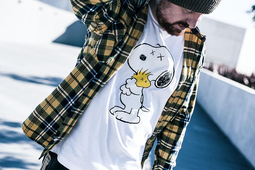 Fallen Footwear Flannel Shirt / Uniqlo X KAWS X Peanuts 'Snoopy & Woodstock' Tee / Nixon Regain Sage Beanie by Tom Cunningham