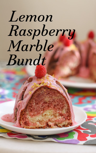 Food Lust People Love: Layer a tangy lemon batter with a zippy pink raspberry batter and give them a swirl to create this lemon raspberry marble Bundt cake. The crumb is light buttery. The lemon raspberry glaze adds even more tart sweetness, or just sprinkle with a little powdered sugar to serve.