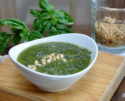 Homemade Basil Pesto ♥  KitchenParade.com, cheese-free, lets sweet basil flavor really shine. Vegan. Low Carb. Gluten Free.