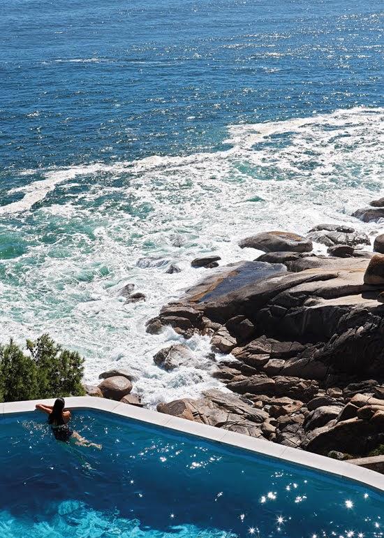 Safari Fusion blog | Summer sea views | Crashing waves from the clifftop pool at Icaria / Bantry Bay, South Africa
