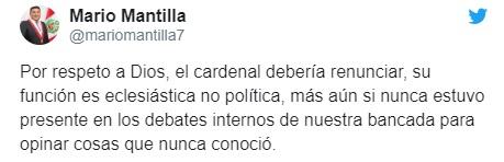Twitter Mario Mantilla contra Barreto