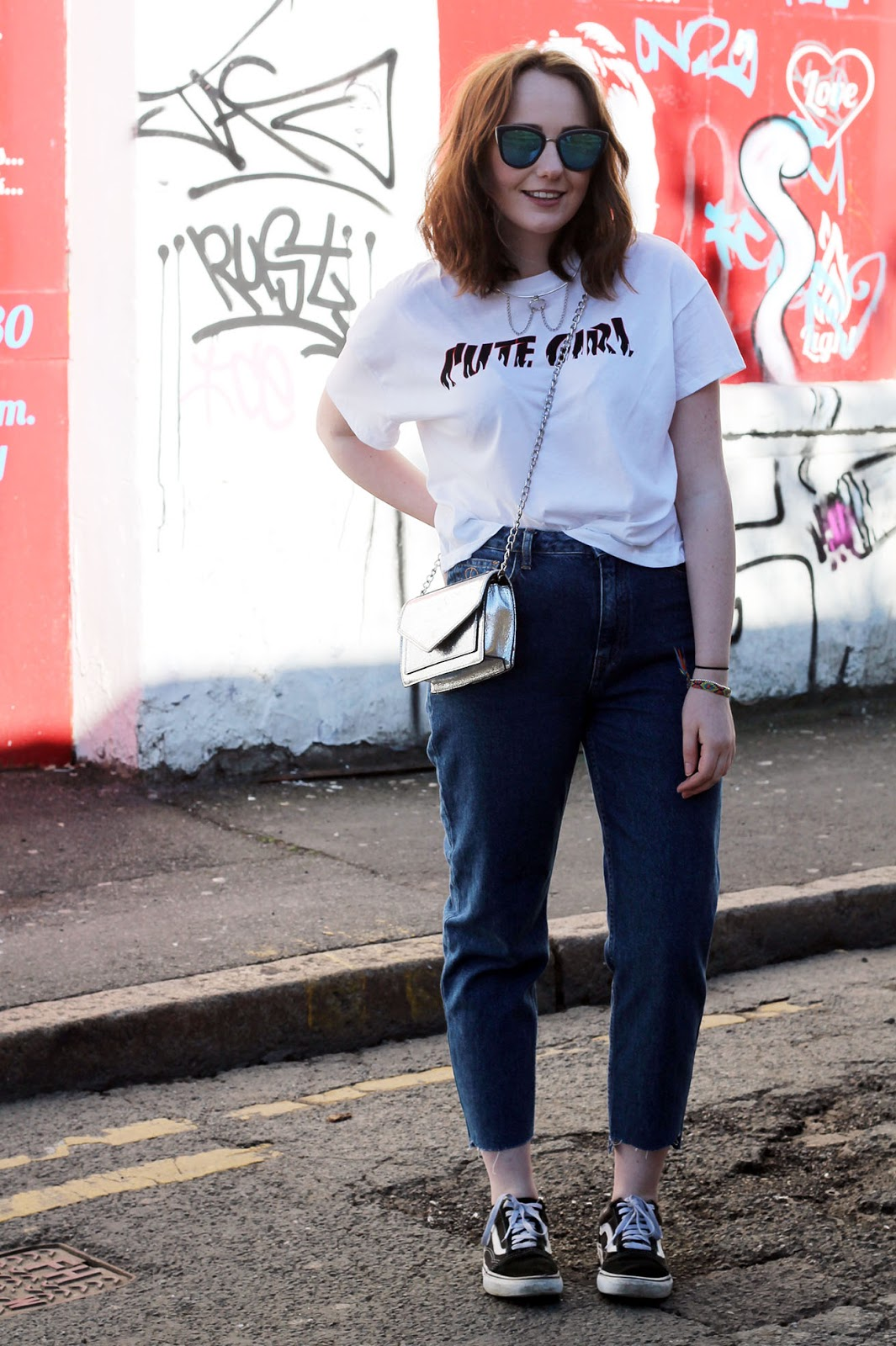 Liverpool fashion blogger outfit with DIY customised jeans and silver accessories