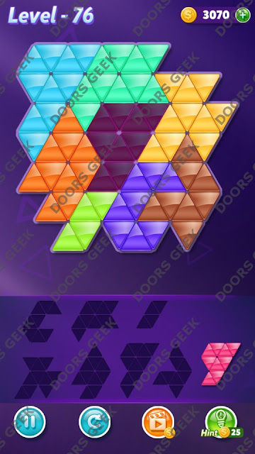 Block! Triangle Puzzle 8 Mania Level 76 Solution, Cheats, Walkthrough for Android, iPhone, iPad and iPod