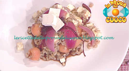 Prova del cuoco - Ingredienti e procedimento della ricetta Insalata di farro con melone feta e cipolle caramellate di Ivano Ricchebono
