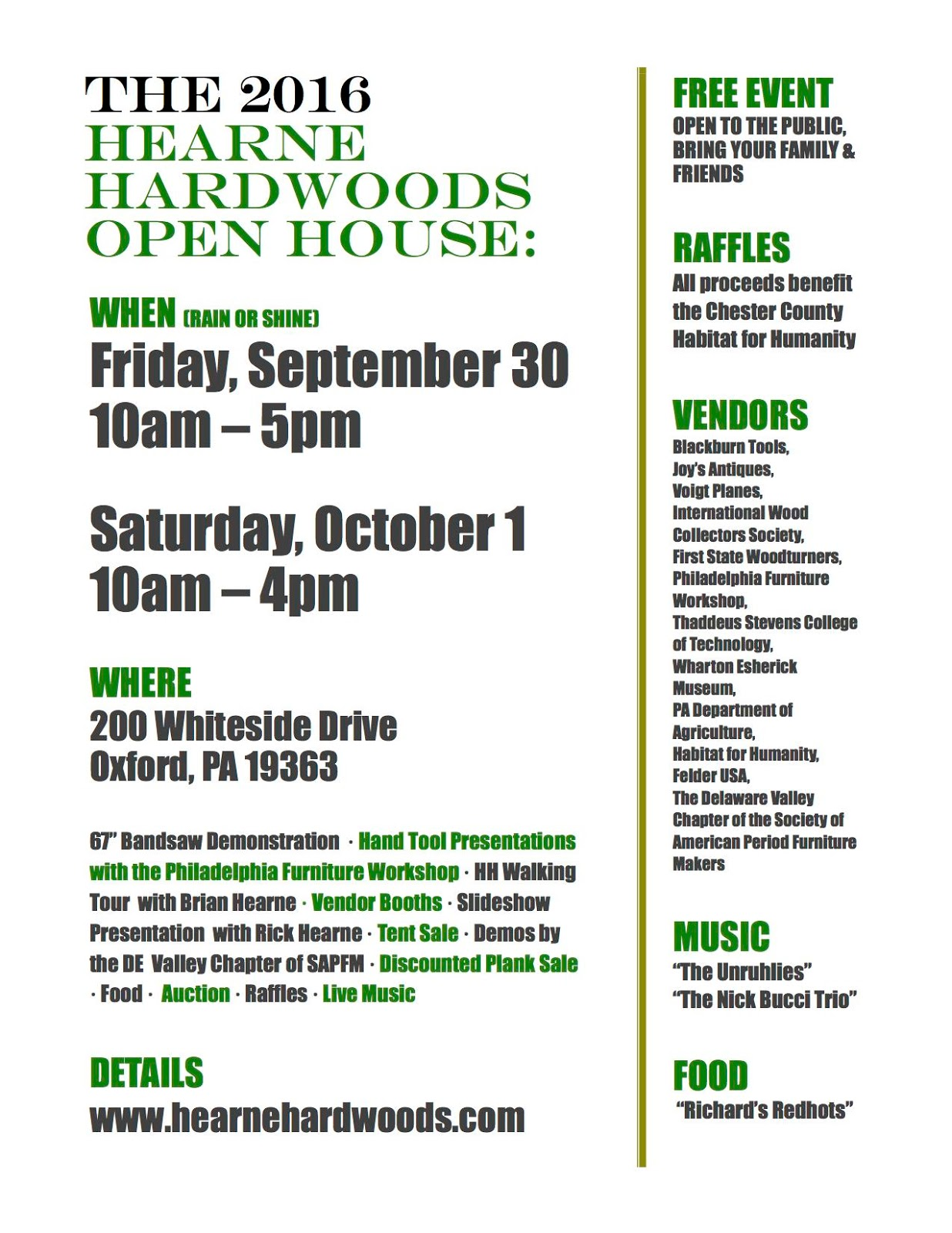 At Hearne Hardwoods This Weekend
