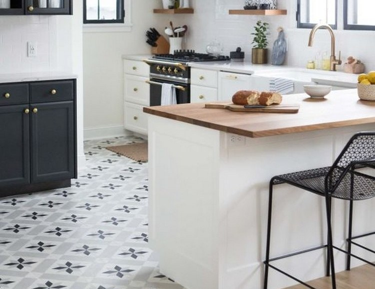 Interior kitchen with regular motif floorinterest.com