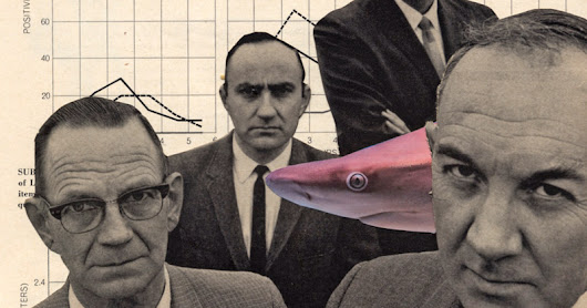 Recent collages --  office sharks, bug people, fancy car and more