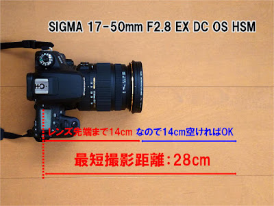 Canon EOS 9000DとSIGMA 17-50mm F2.8 EX DC OS HSMの最短撮影距離