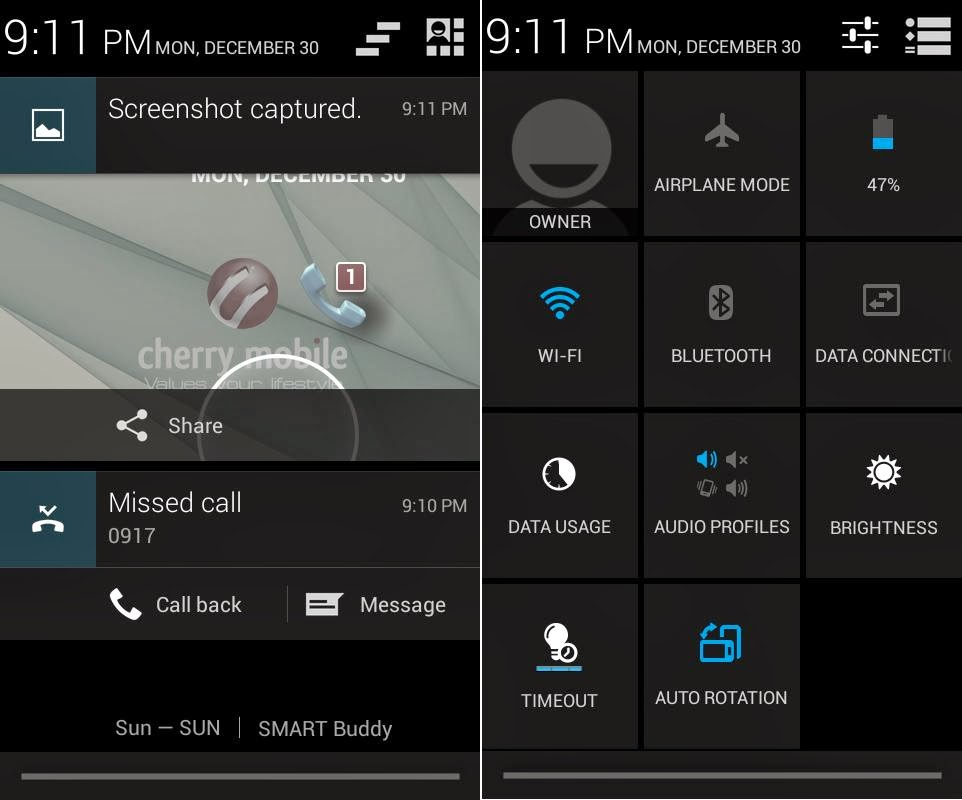 Cherry Mobile Amber Notification & Quick Toggle Settings