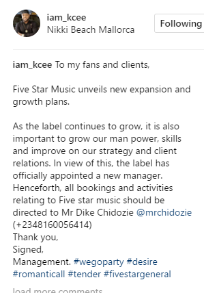 Kcee unveils new manager