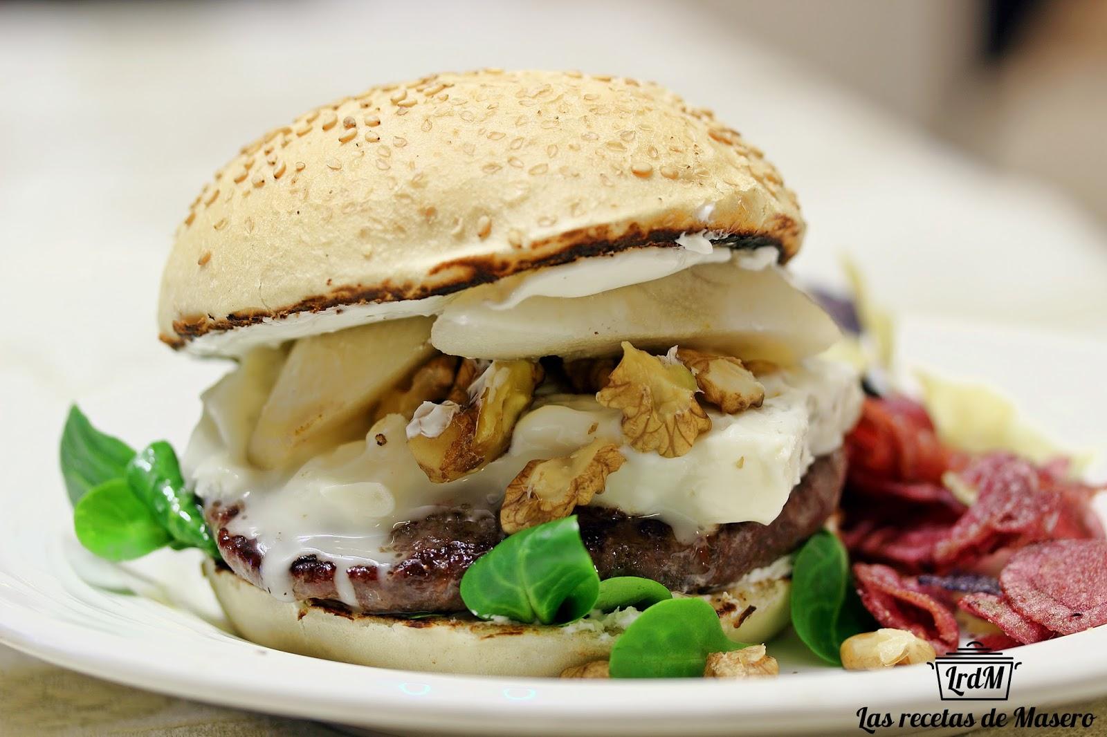 Las recetas de masero hamburguesa con gorgonzola y pera for Cama hamburguesa