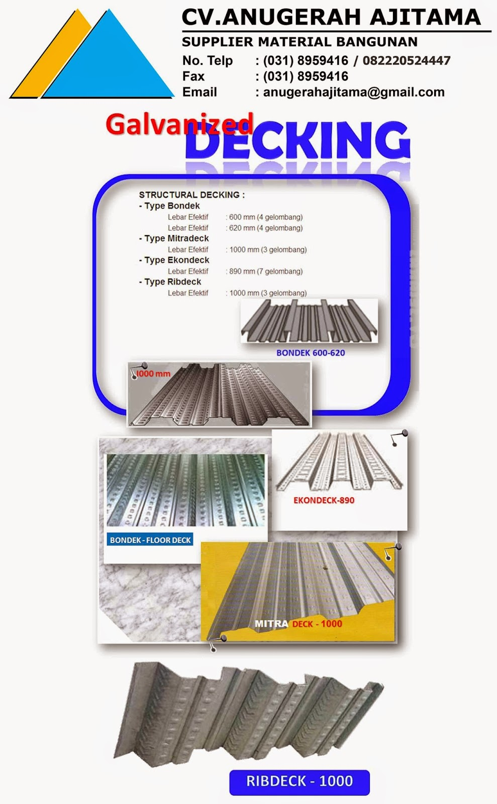 PRODUK DECKING BONDEK STRUCTURAL DECKING