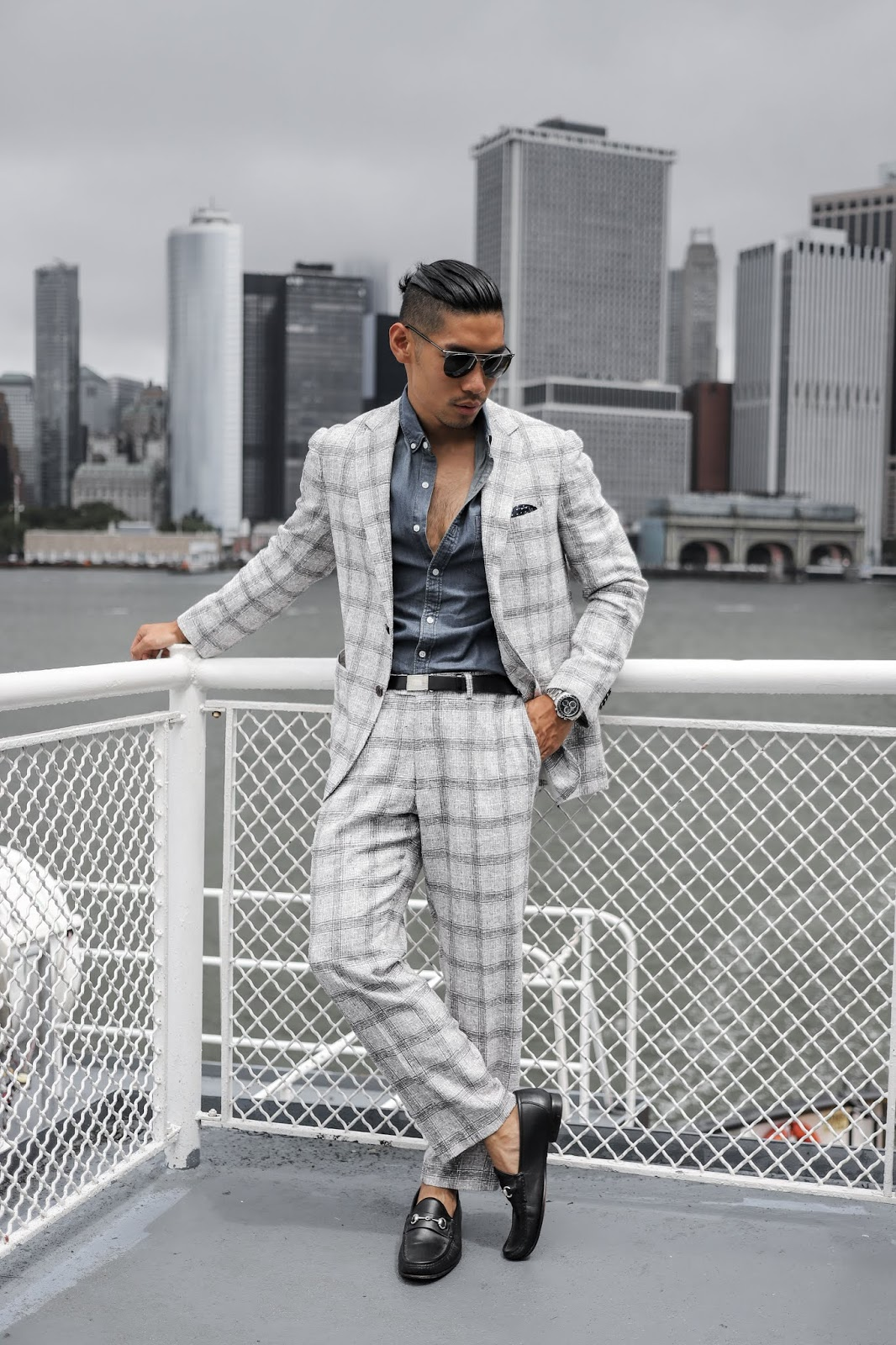 Leo Chan wearing Windowpane Suit to Polo Match | Asian Model and Blogger