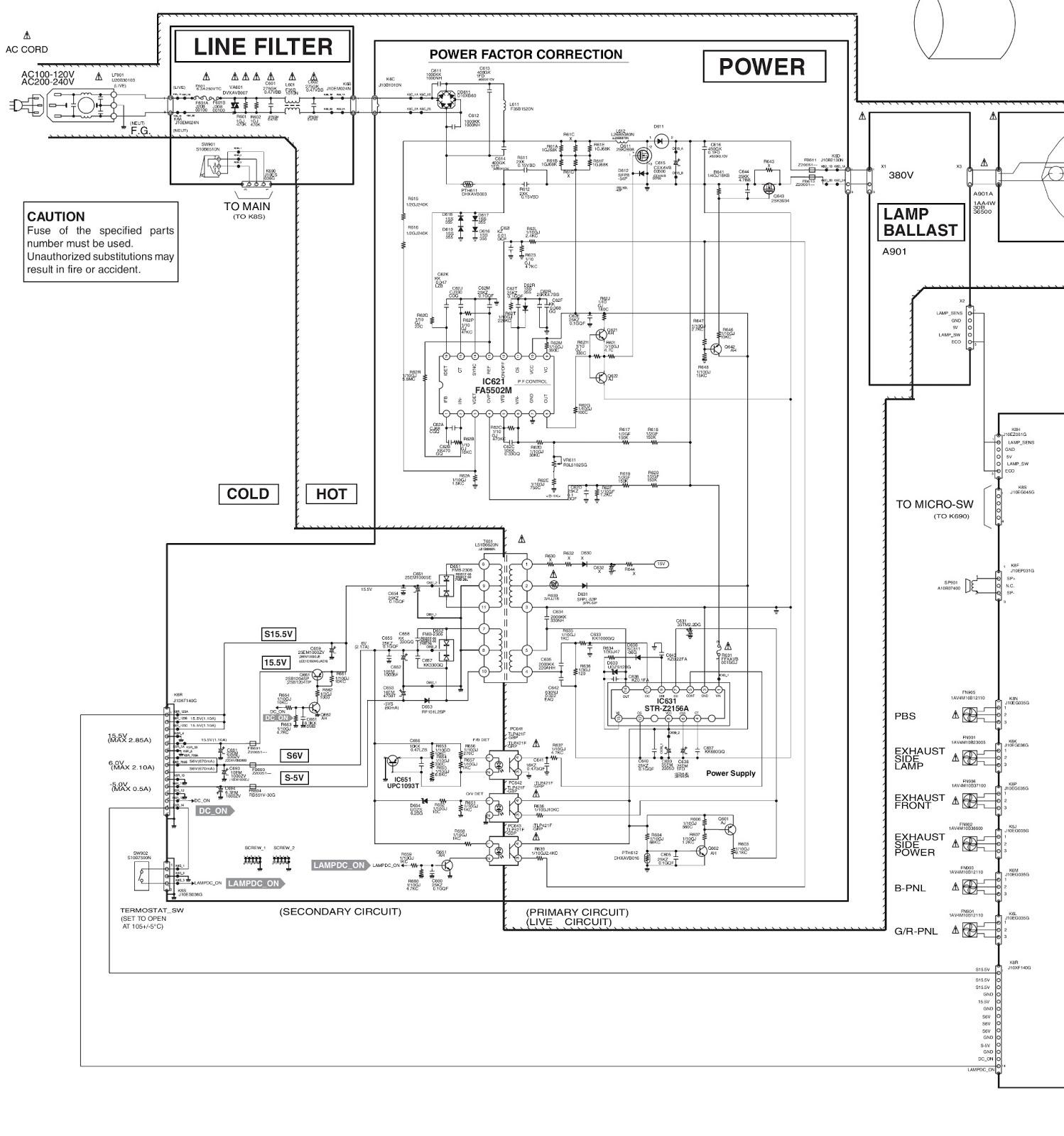 SANYO PLC XU87 PROJECTOR  POWER SUPPLY  SCHEMATIC
