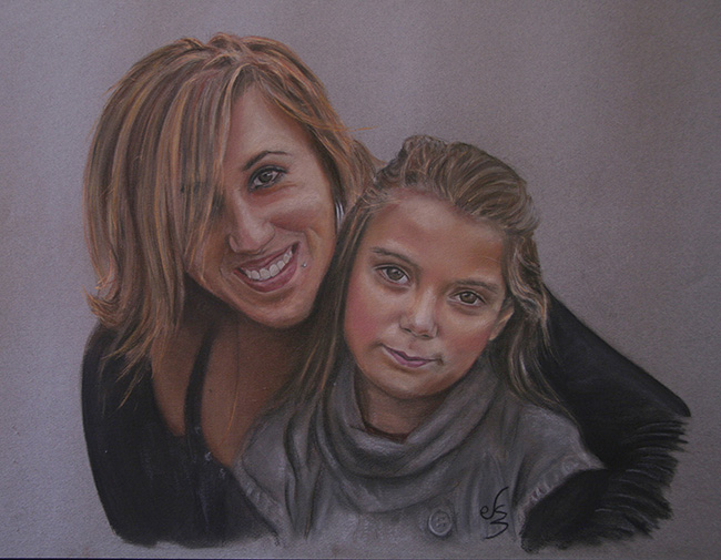 Retrato cuadro de una chica abrazando a una niña