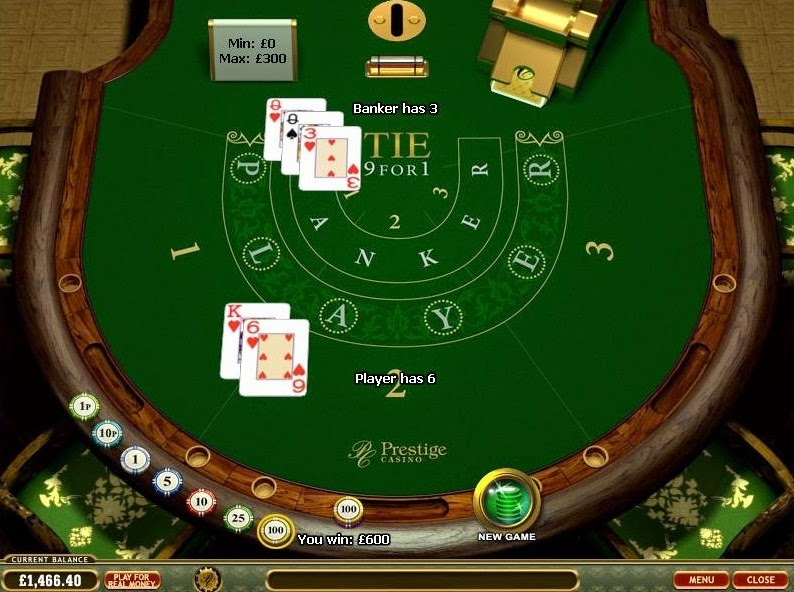 Prestige Casino Baccarat Screen