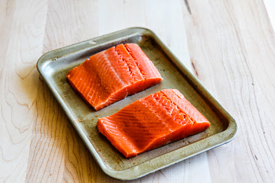 salmon prep for Easy Recipe for Greek Salmon Cooked in a Grill Pan found on KalynsKitchen.com