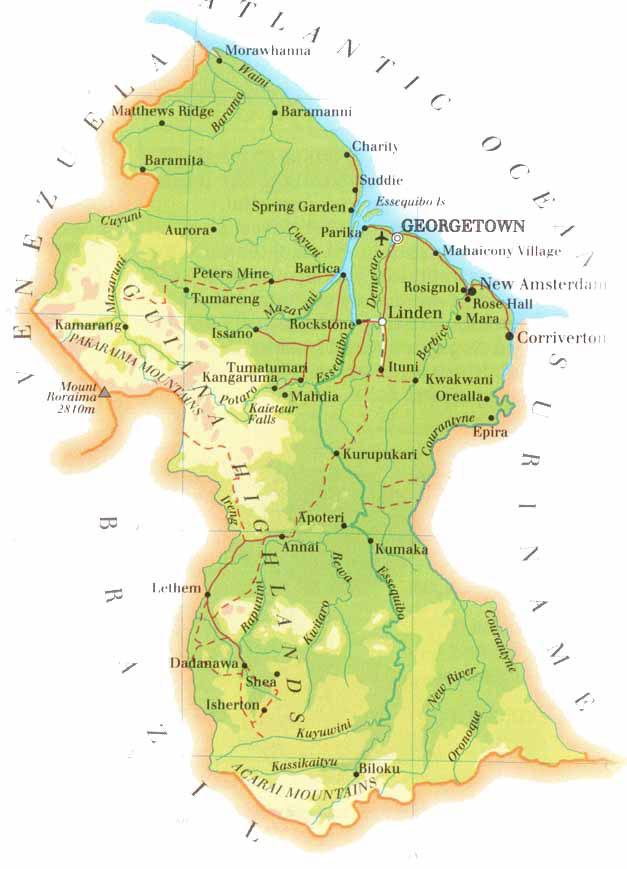 Guiana | Mapas Geográficos da Guiana