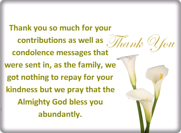 thank you for sympathy card