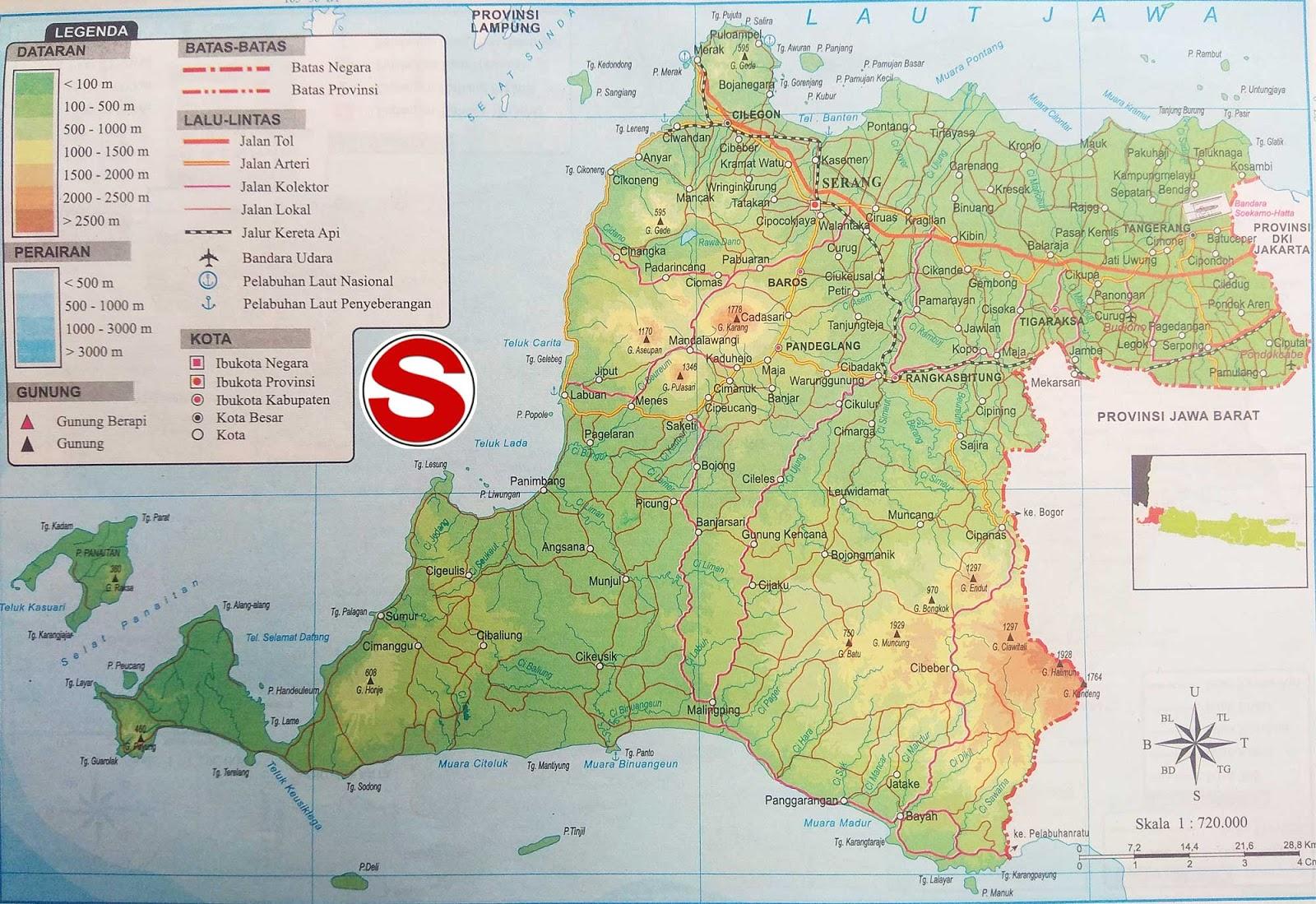 Peta Atlas Provinsi Banten di bawah ini mencakup peta dataran Peta Atlas Provinsi Banten