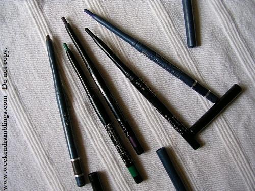 Avon Glimmersticks Eyeliners Pencils - Emerald Cosmic Brown Majestic Plum Blackest Black Starry Night Blue - Swatches Photos Review