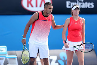Nick Kyrgios And Ajla Tomljanovic During Mixed Doubles Match