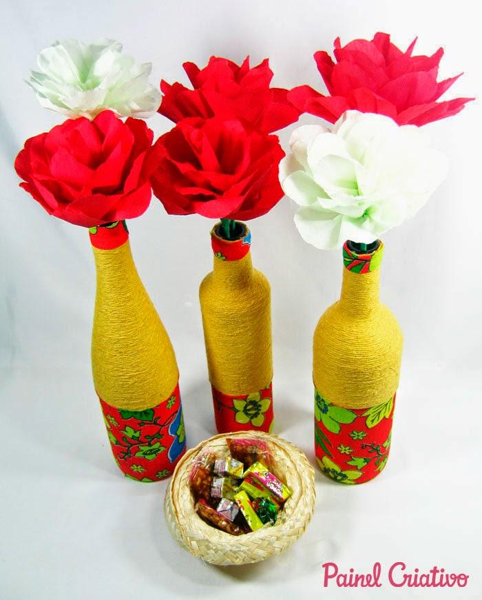 Decoraç u00e3o de festa junina com garrafa pet Pra Gente Miúda -> Decoração De Garrafa Pet Para Festa Junina