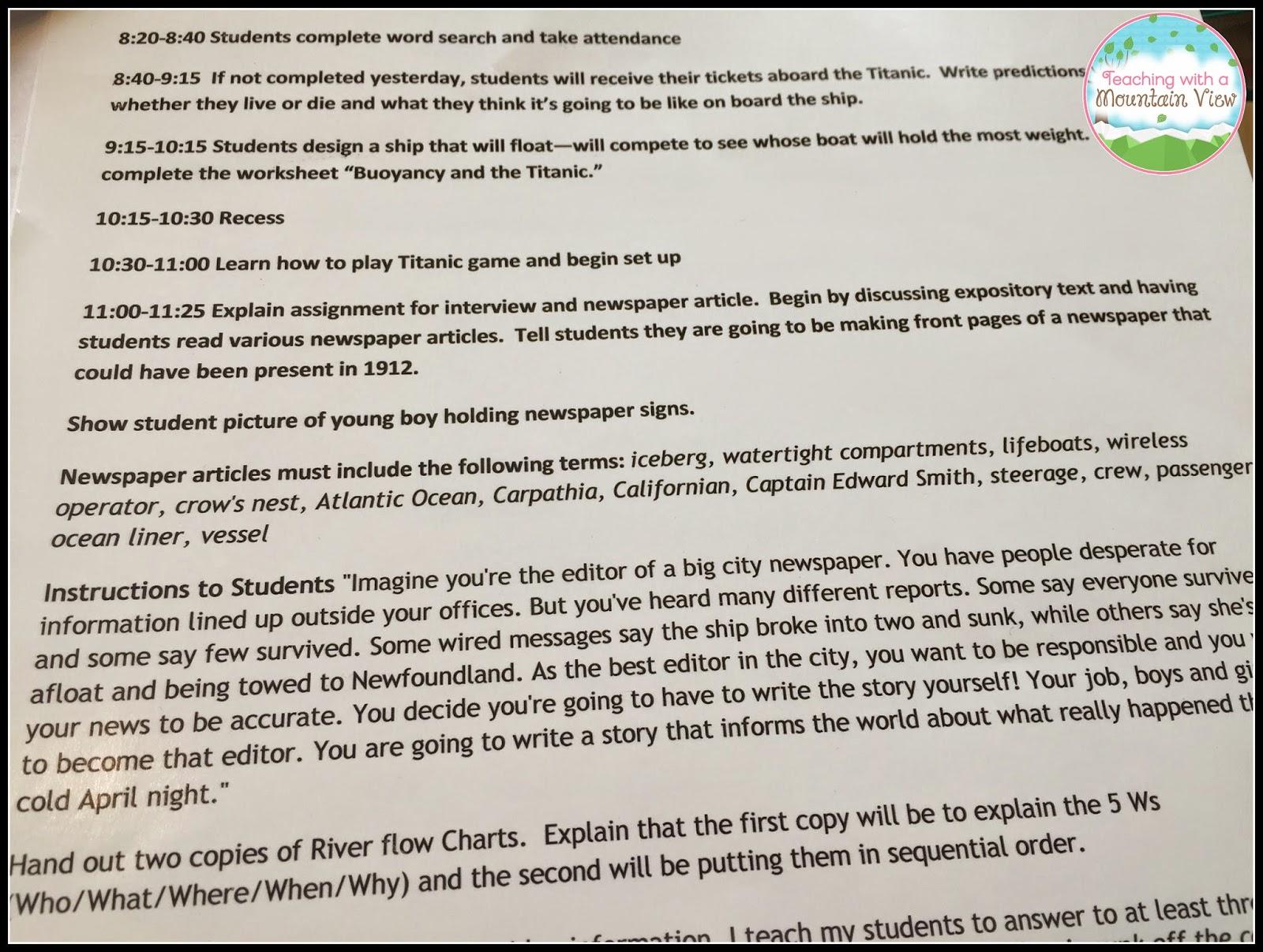 Titanic Questions Worksheet