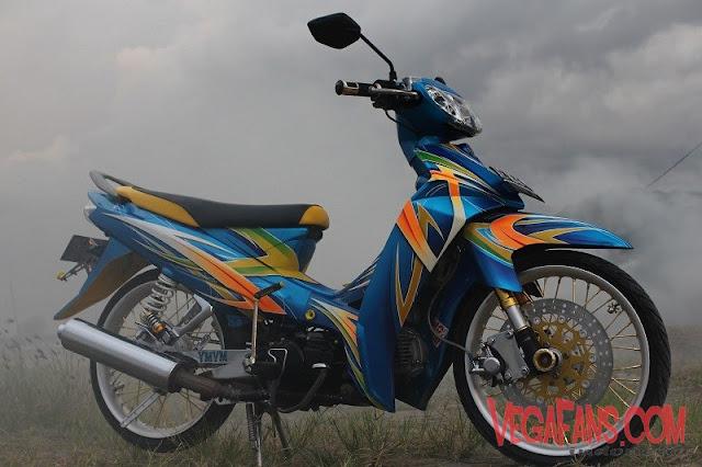 Vega R New Biru Modif Aribrush Tapak Lebar