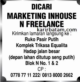 Lowongan Kerja Marketing Inhouse N Freelance