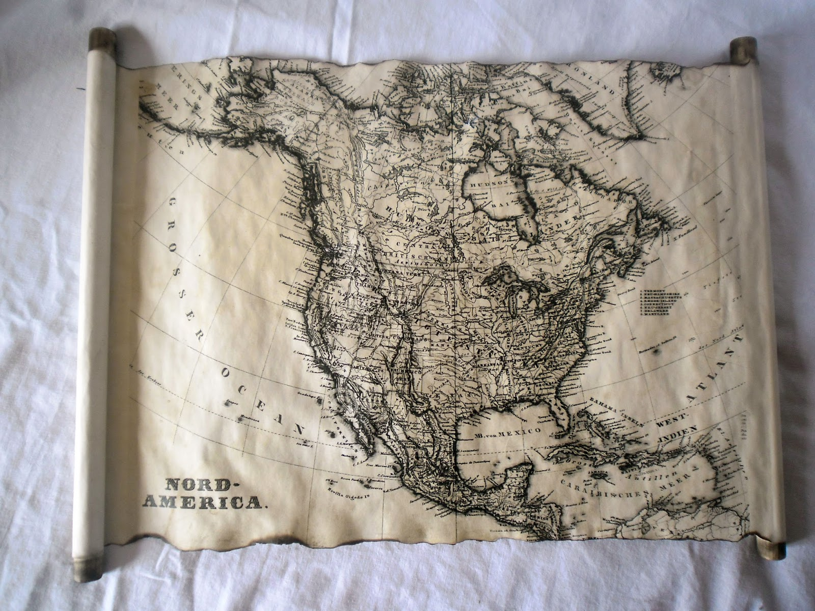 Land Of Scrolls America Old Map Of North America On Handcrafted Scroll