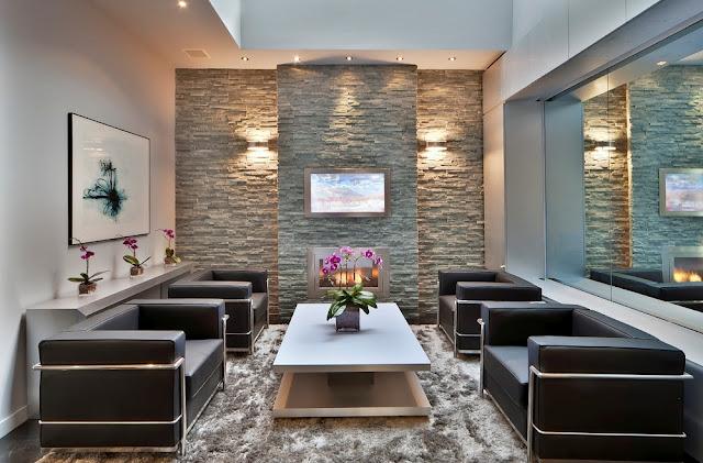 Trang trí mảng tường bằng đá độc đáo dành cho phòng khách