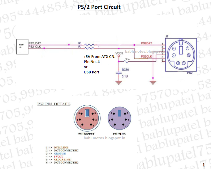 Bablu Notes: PS2 Port Circuit Diagram and Its Problem in