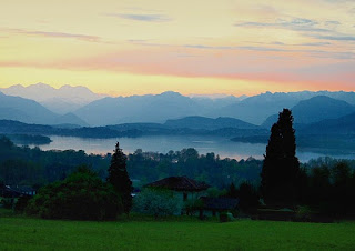 Lake Varese is set among rolling hills below the town