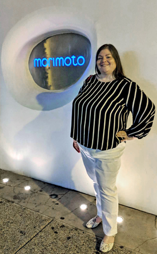 image of me in above described outfit standing outside Morimoto