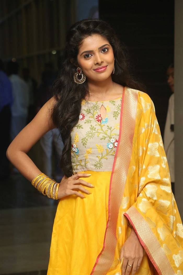 South Indian Actress Shravya Hot In Yellow Dress At Movie Audio Launch
