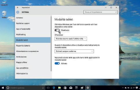 Attivazione modalità Tablet in Windows 10