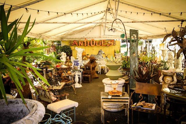 Shop for garden antiques, wrought iron pieces, unusual architectural elements at James & Jeffrey Antiques Pavilion.