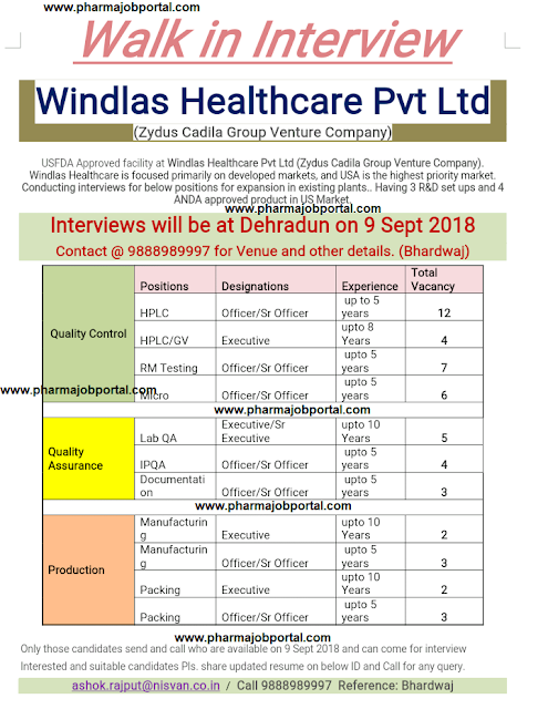Windlas Healthcare Pvt.Ltd. Walk-In Interview For Multiple Positions in Quality Assurance, Quality Control, Production at 9 Sep.