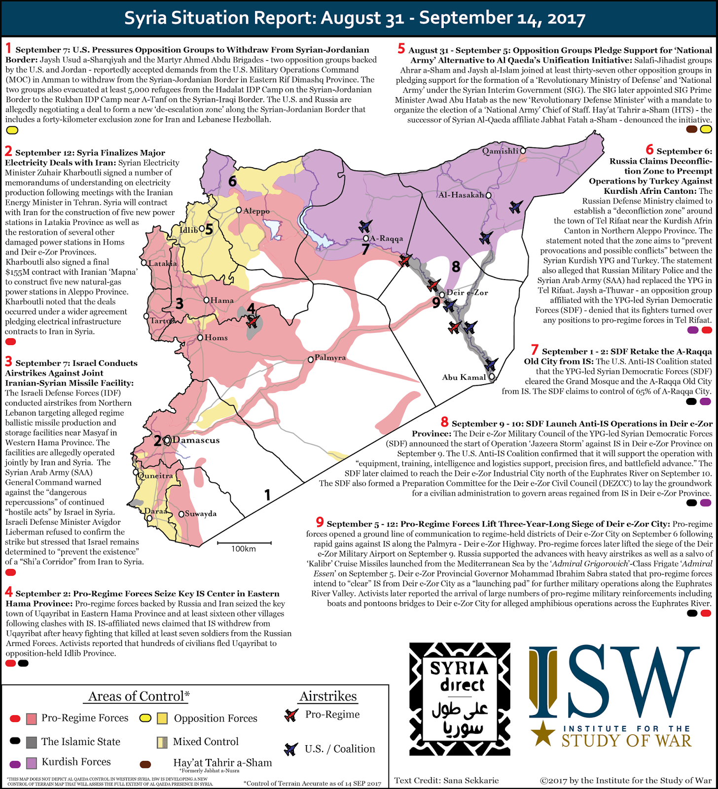 ISW Blog: Syria Situation Report: August 31 - September 14, 2017