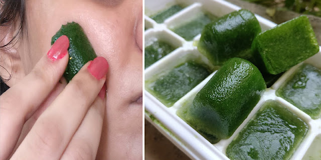 Try This Lemon Spinach Ice cubes To Remove Pimples, Acne, Dark Spots. Blemishes, Sun Tan