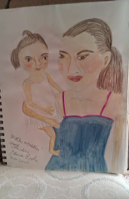 sketch mother and toddler by Gloria Poole of Missouri
