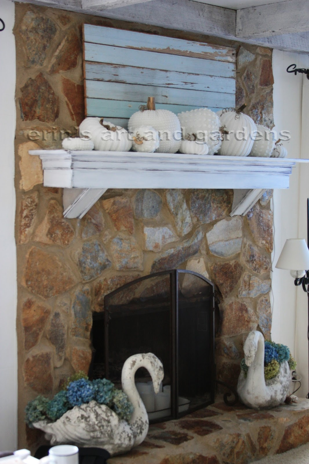 Erin S Art And Gardens Chalk Painted 1970 S Stone Fireplace