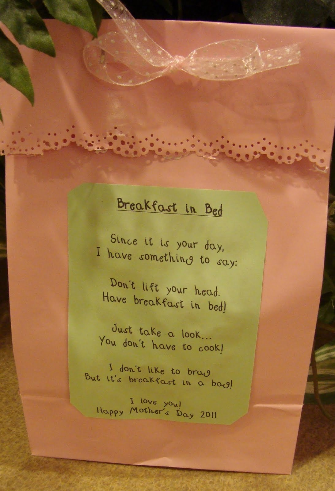 First Grade Backpack Mother Day Breakfast Bed Bag