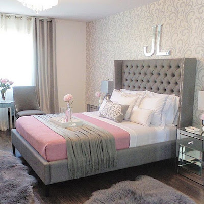 relaxing bedroom paint color ideas grey pink combination