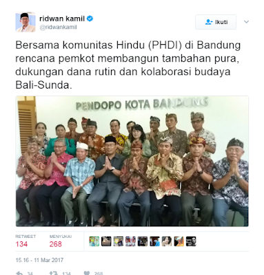 Ridwan Kamil Akan Bangun Pura di Bandung