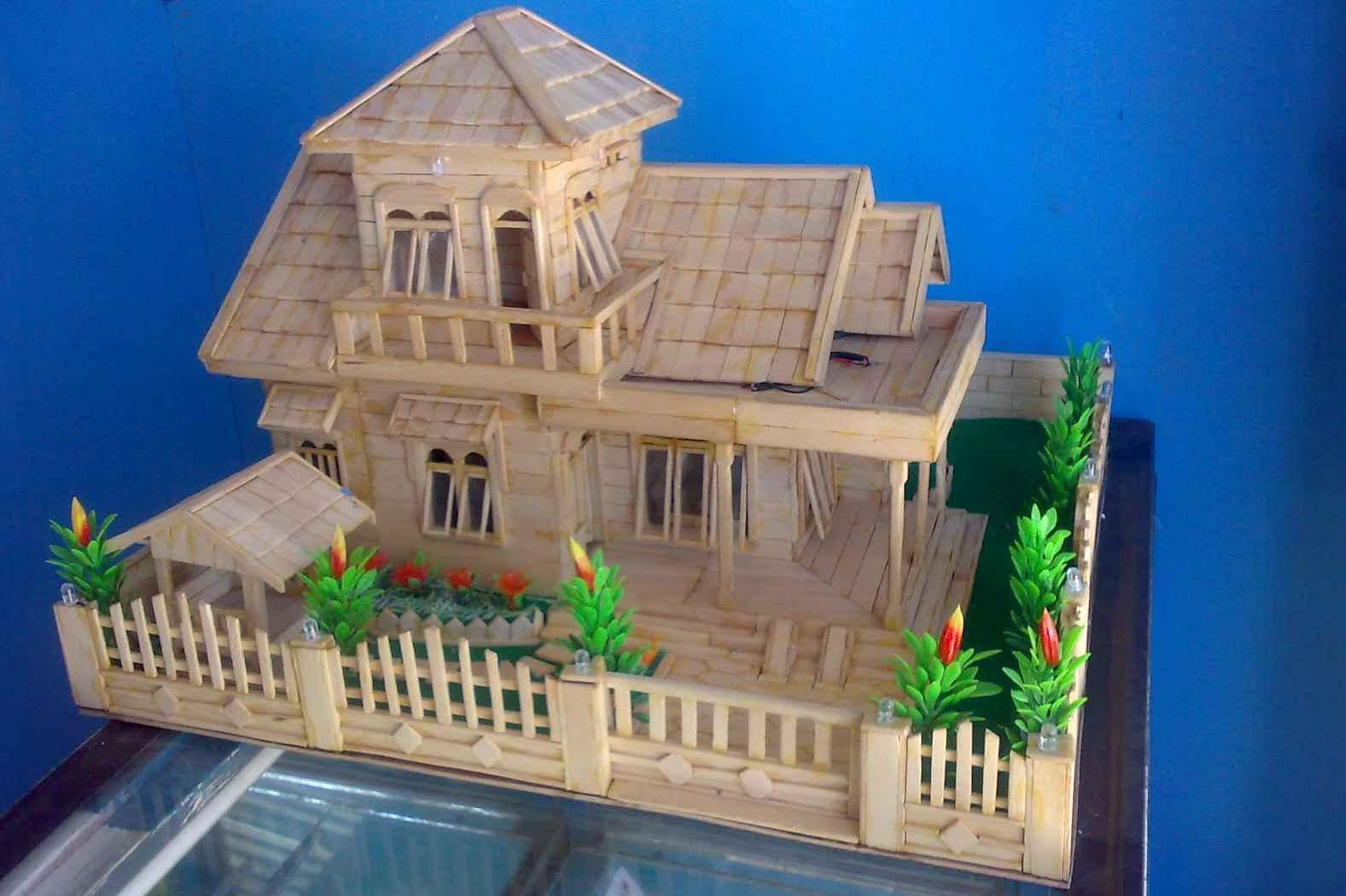 Kreasi Rumah Miniatur Dari Stik Es Krim