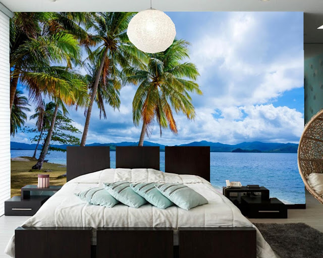 Tropical Wall Murals Beach Ocean 3D Photo Wallpaper Palm Tree Bedroom